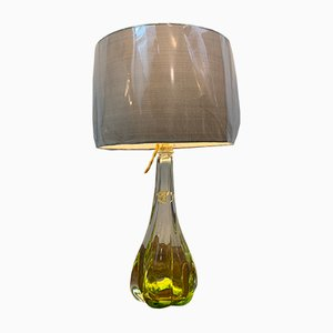 Belgische lindgrüne Tischlampe von Val Saint Lambert, 1950er