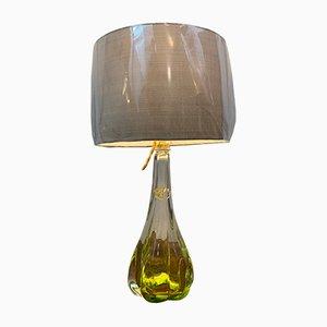 Lampe de Bureau Vert Citron de Val Saint Lambert, Belgique, 1950s