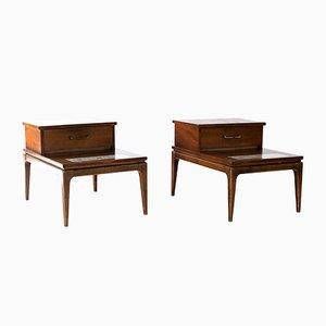 Tables d'Appoint à 2 Niveaux Mid-Century en Noyer Marqueté Vernis de Lane Furniture, Set de 2