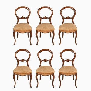 Baroque Style Sorrento Walnut Chairs, 1920s, Set of 6