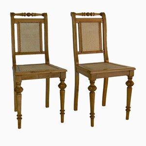 Antike Jugendstil Stühle aus Korbgeflecht, 2er Set