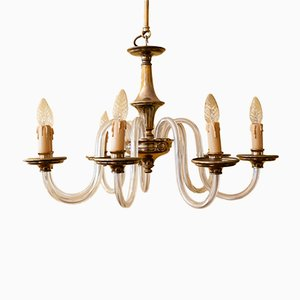 Czech Brass & Handblown Glass 8-Arm Chandelier, 1950s