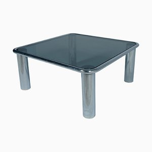 Mid-Century Modern Smoked Glass & Chrome Coffee Table by Mario Bellini