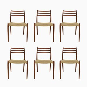 Teak Model 78 Dining Chairs with Papercord by Niels Otto Møller for J.L. Møllers, 1960s, Set of 6