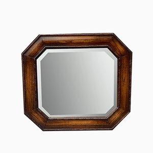 Vintage Octagonal Wall Mirror with Wood Frame