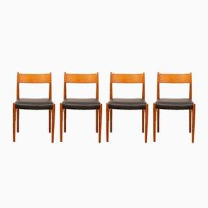 Chaises de Salon Modèle 418 en Teck & Cuir par Arne Vodder, 1960s, Set de 4