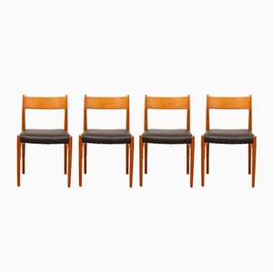 Model 418 Teak & Leather Dining Chairs by Arne Vodder, 1960s, Set of 4