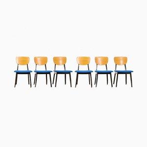 Chaises de Salon Vintage en Bois Massif de Wohnhilfe, Set de 6