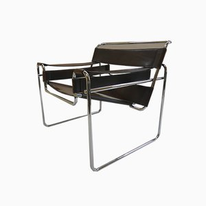 Leather & Chrome Wassily B3 Chair by Marcel Breuer for Knoll, 1980s