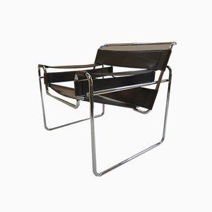 Silla Wassily B3 de cuero y metal cromado de Marcel Breuer para Knoll, años 80