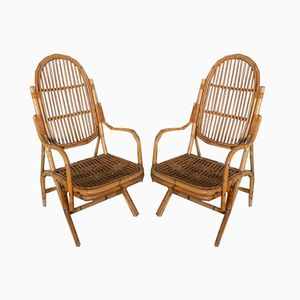 Vintage Italian Wicker Armchairs, 1960s, Set of 2