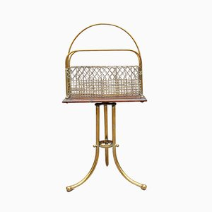 19th Century Brass and Mahogany Magazine Rack, 1880s