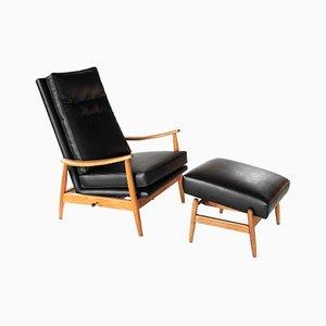 Vintage Sessel und Fußhocker von Milo Baughman für James Inc.