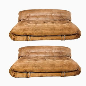 Brown Space Age Alcantara Soriana Sofa by Afra & Tobia Scarpa for Cassina, 1969, Set of 2