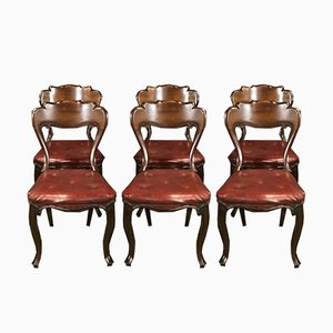 Antike Esszimmerstühle aus Mahagoni & rotem Skai, 6er Set
