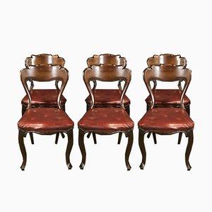 Chaises de Salle à Manger Antiques en Acajou et en Skaï Rouge, Set de 6