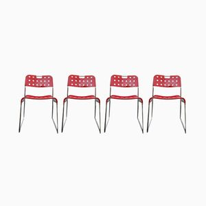 Stackable Omstak Red Painted Steel & Chrome Dining Chairs by Rodney Kinsman for Bieffeplast, 1971, Set of 4