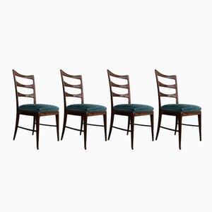 Chaises de Salon Sculpturales en Noyer & en Velours Émeraude par Paolo Buffa, 1948, Set de 4