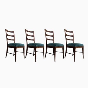 Sculptural Walnut & Emerald Velvet Dining Chairs by Paolo Buffa, 1948, Set of 4