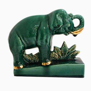 Serre-Livres Éléphant Art Déco en Faïence Courte de CAB, 1930s