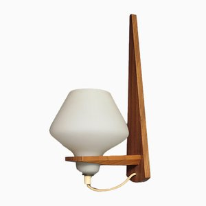 Danish Teak and Opaline Glass Wall Lamp, 1960s