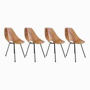 Curved Medea Ash Dining Chairs by Vittorio Nobili for Fratelli Tagliabue, 1955, Set of 4