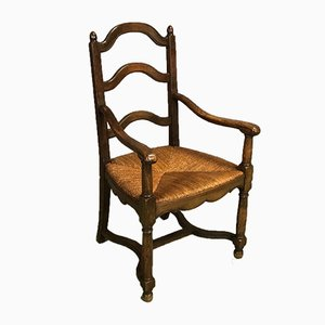 Antique Chestnut & Straw Armchair