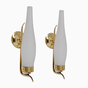 French Brass Wall Lights, 1925, Set of 2