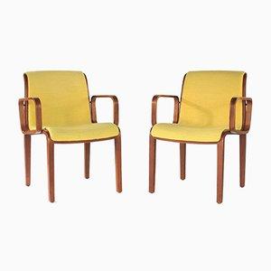 Gelbe Armlehnstühle aus Bugholz von Knoll International, 1970er, 2er Set