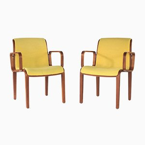 Yellow Bentwood Armchairs from Knoll International, 1970s, Set of 2