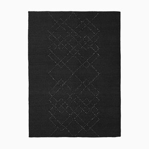 Black on Black Borg #02 Rug in Wool by Louise Roe for Louise Roe Copenhagen