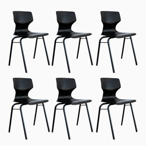 Mid-Century Curved Wood Industrial Chairs by Adam Stegner for Pagholz Flöttoto, 1971, Set of 6