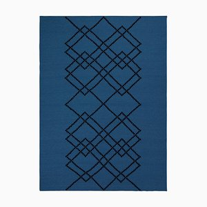 Royal Blue Borg #02 Rug in Wool by Louise Roe for Louise Roe Copenhagen