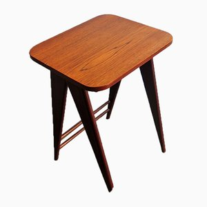 Teak Side Table with Scissor Legs, 1950s