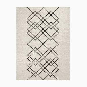 Black on Ecru Borg #03 Rug in Wool by Louise Roe for Louise Roe Copenhagen