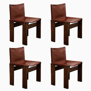 Monk Brick Red Leather & Walnut Dining Chairs by Afra & Tobia Scarpa for Molteni, 1973, Set of 4