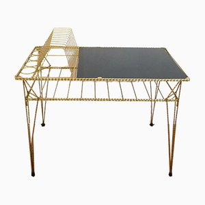 Gold Metal & Black Opal Glass Coffee Table, 1950s
