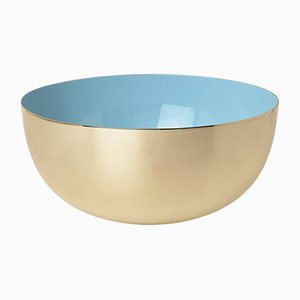 Brass & Porcelain Blue Enamel Bowl by Louise Roe for Louise Roe Copenhagen