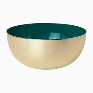 Brass & Jade Green Enamel Bowl by Louise Roe for Louise Roe Copenhagen