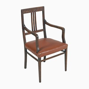 French Art Nouveau Walnut Armchair, 1890s
