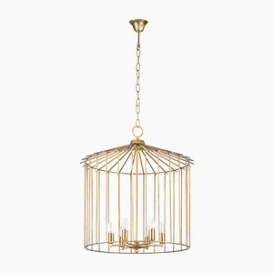 Lámpara de araña Cage pequeña de Niccolo De Ruvo para Brass Brothers