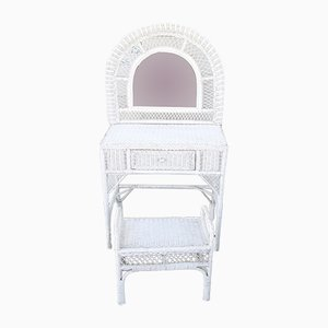 White Wicker Dressing Table & Stool, 1970s