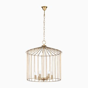 Medium Cage Chain Chandelier by Niccolo De Ruvo for Brass Brothers