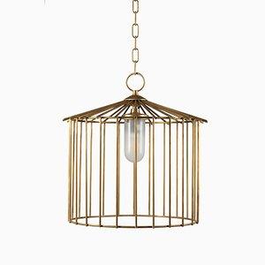 Mittelgroße Cage Hängelampe für Außenbereich von Niccolo De Ruvo für Brass Brothers