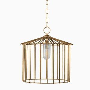 Kleine Cage Hängelampe für Außenbereich von Niccolo De Ruvo für Brass Brothers