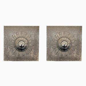 Applique in acciaio inossidabile e lucite di A. Brotto per Esperia, Italia, anni '70, set di 2