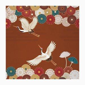 Ambiente Flower and Chevron 1 Wandverkleidung mit Stoffbezug von Chiara Mennini für Midsummer-Milano