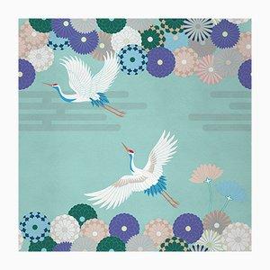 Ambiente Flower and Chevron 2 Wandverkleidung mit Stoffbezug von Chiara Mennini für Midsummer-Milano