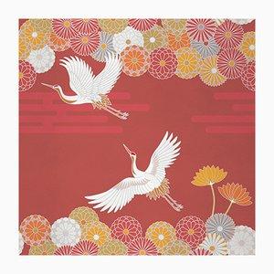 Ambiente Flower and Chevron 5 Wandverkleidung mit Stoffbezug von Chiara Mennini für Midsummer-Milano
