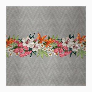 Flowers and Chevron Pattern 1 Wandverkleidung mit Stoffbezug von Chiara Mennini für Midsummer-Milano